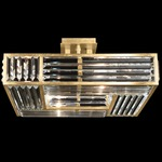 Crystal Enchantment Square Semi Flush Ceiling Light - Gold Leaf / Crystal
