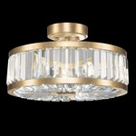 Crystal Enchantment Round Semi Flush Ceiling Light - Gold Leaf / Crystal