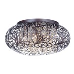 Arabesque Oval Ceiling Flush Light - Oil Rubbed Bronze / Crystal
