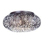 Arabesque Oval Ceiling Flush Light - Oil Rubbed Bronze / Crystal