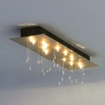 Crystal Rain Rectangular Ceiling Mount - Gold Leaf / Crystal
