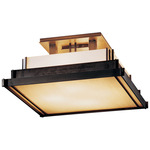 Steppe Small Semi Flush Ceiling Light - Dark Smoke / White Art