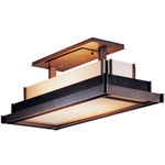 Steppe Rectangle Semi Flush Ceiling Light - Opaque Dark Smoke / White Art