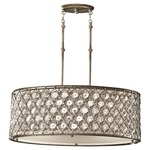 Lucia Oval Pendant - Burnished Silver / Cream