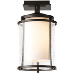 Meridian Outdoor Semi Flush Ceiling Light - Coastal Bronze / Opal and Seeded
