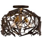 Bermuda Ceiling Semi Flush Light - Antique Gold / Rustic Bronze
