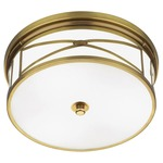 Chase Ceiling Flush Mount - Antique Brass / Frost White