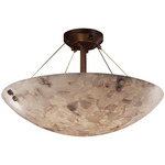 Alabaster Rocks Semi Flush Mount With Cylindrical Finials - Dark Bronze / Alabaster Rocks