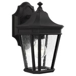 Cotswold Lane Outdoor Wall Light - Black / Clear Seeded