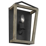 Gannet Wall Light - Antique Forged Iron / Aged Oak