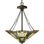 Inglenook Bowl Pendant - Valiant Bronze / Tiffany Multicolor