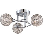 Platinum Shimmer Ceiling Semi Flush Light - Polished Chrome / Crystal