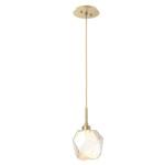 Gem Single Pendant - Gilded Brass / Amber