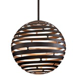 Tango LED Suspension - Textured Bronze with Warm Silver Leaf /