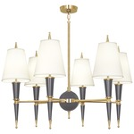 Versailles Fabric Shade Chandelier - Polished Brass / Ash