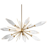 Rock Crystal Oval Starburst Chandelier - Gilded Brass / Chilled Clear
