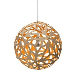 Floral Pendant - Bamboo / Natural / Orange