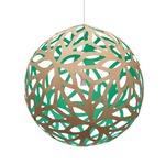 Floral Pendant - Bamboo / Natural / Aqua