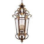 Zaragoza Foyer Pendant - Golden Bronze / Seeded Clear Glass