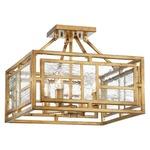 Edgemont Park Semi Flush Ceiling Light - Pandora Gold Leaf / Textured Clear Glass