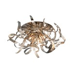 Graffiti Semi Flush Ceiling Mount - Silver Leaf / Polished Stainless Steel / Smoked Crystal