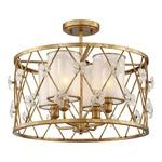Victoria Park Semi Flush Ceiling Light - Elara Gold / White Iris Glass