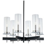 Tuxedo Chandelier - Chrome / Black / Clear