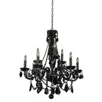 Black Tie 9 Light Chandelier - Jet Black / Jet Crystals
