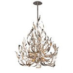 Graffiti Chandelier - Silver Leaf / Polished Stainless Steel / Smoked Crystal