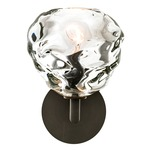 Happy Kiss Wall Light with Round Canopy - Dark Bronze / Clear
