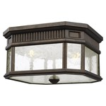 Cotswold Lane Outdoor Ceiling Light Fixture - Grecian Bronze / Clear Seeded