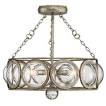 Warwick Ceiling Semi Flush Light/Pendant - Brittania Gold / Clear