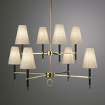 Ventana Two Tier Chandelier - Antique Brass / Natural
