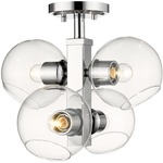 Marquee Semi Flush Ceiling Light - Chrome / Clear
