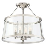 Barlow Semi Flush Mount Ceiling Light - Polished Nickel / Clear Seedy