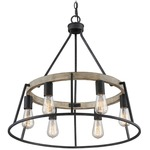 Brockton Chandelier - Grey Ash / Whitewash Faux Wood