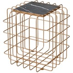 Grid End Table - Gold / Black Marble