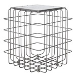 Grid End Table - Rustic Bronze / White Marble