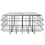 Grid Coffee Table - Rustic Bronze / White Marble