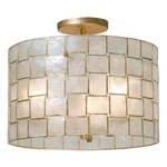 Roxy Semi Flush Ceiling Light - Oxidized Gold Leaf / Capiz Shell