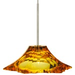 EZ Jack Peak Crystal Pendant - Satin Nickel / Amber