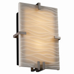 Clips Rectangle Wall Sconce - Brushed Nickel / Waves Porcelain