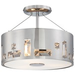 Bling Bang Semi Flush Ceiling Light - Chrome / Crystal
