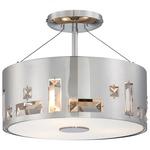 Bling Bang Semi Flush Ceiling Light - Chrome / Crystal