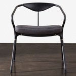 Akron Dining Chair - Black / Storm Leather