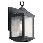 Springfield Outdoor Wall Light - Distressed Black / Clear Seeded
