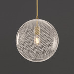 Cane Pearl Drift Globe Pendant - Gold Cord / Satin Brass Finish / Pearl