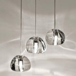 Mizu Round Multi Light Pendant - Brushed Nickel / Clear