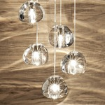 Mizu 5 Light Pendant - Brushed Nickel / Crystal