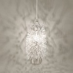 Sea Urchin Oblong Suspension Light - Nickel / Crystal
